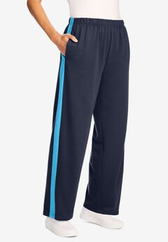 Side Stripe Cotton French Terry Straight-Leg Pant, NAVY PARADISE BLUE