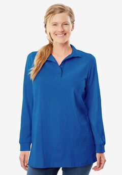Perfect Long Sleeve Polo Tunic, BRIGHT COBALT