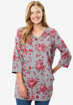 Perfect Print V-Neck Tunic, HEATHER GREY BOUQUET, hi-res