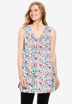 Perfect Printed Sleeveless Shirred V-Neck Tunic, WHITE FIELD FLORAL