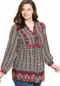 Mixed Print Blouse,