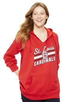 MLB® Fleece notch V-neck hoodie, CARDINALS, hi-res