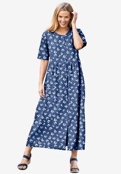 Short-Sleeve Denim Dress, WHITE MINI DANDELION