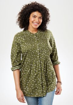 Perfect Pintuck Shirt, DARK BASIL LEAF PRINT