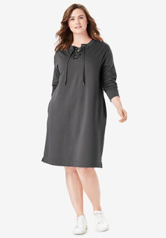 2937e483e67 Lace-Up Front Fleece Dress