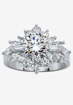 Platinum Plated Round Cluster Ring Cubic Zirconia (3 5/8 cttw TDW) by PalmBeach Jewelry,