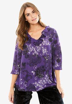 Curved Hem Ruffle Shirt by Chelsea Studio®, PETUNIA SCROLL, hi-res