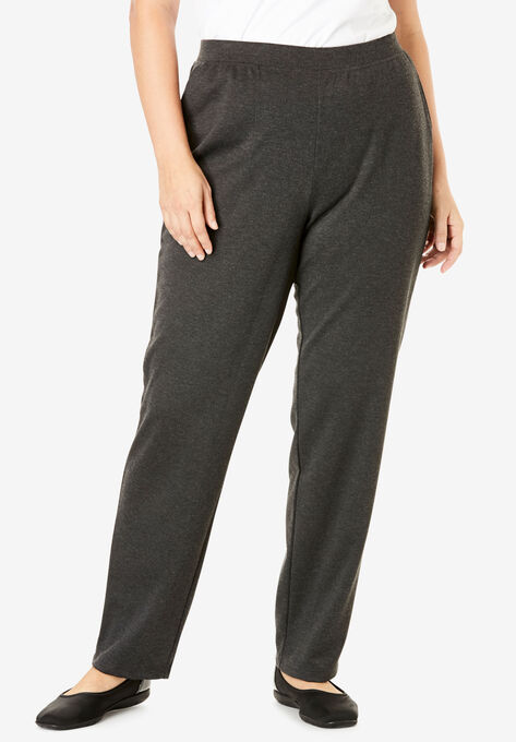 Straight Leg Ponte Knit Pant Plus Size Tall Woman Within