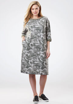 Soft Fleece Sweatshirt Dress, GREEN CAMO