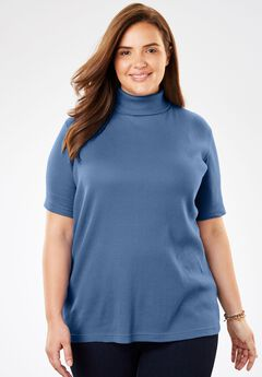 Ribbed Short Sleeve Turtleneck,