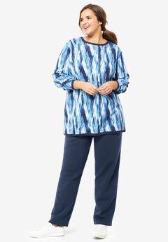 Fleece Sweatsuit, EVENING BLUE ABSTRACT