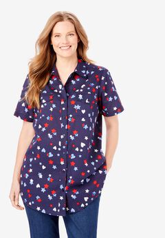 Cotton Campshirt, NAVY HEARTS AND STARS