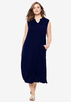 Sleeveless Pintuck Crinkle Dress, NAVY