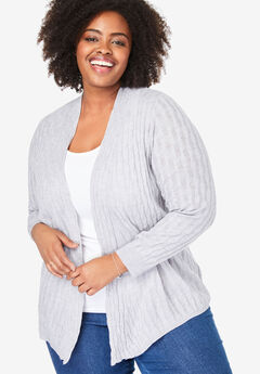 Light weight cable cardigan, HEATHER GREY, hi-res