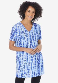 V-Neck Tie-Dye Tunic, VIBRANT BLUE TIE-DYE