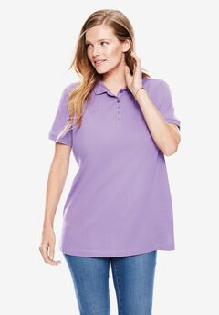 Perfect Short-Sleeve Polo Shirt, SOFT IRIS