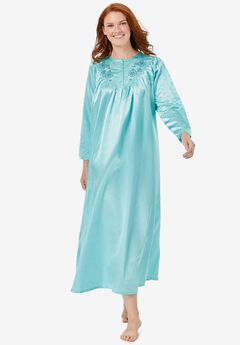 Embroidered Bib Brushed Satin Nightgown ,