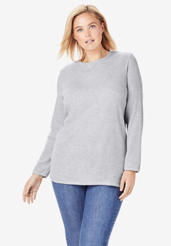 Top, sweatshirt in soft, colorful thermal knit, HEATHER GREY, hi-res