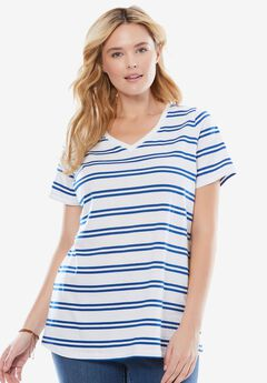 Perfect Printed V-Neck Tee, TWILIGHT BLUE DOUBLE STRIPE, hi-res