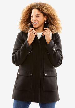 Wool-Blend Duffle Coat, BLACK