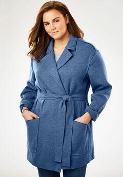 Lightweight Wool Shawl Coat, DUSTY INDIGO, hi-res