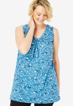 Perfect Printed Sleeveless Tunic, RIVER BLUE ROSE VINE