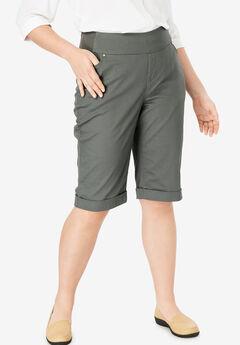 Smooth Waist Bermuda Jean Short, OLIVE GREY