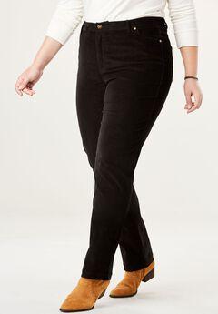 Corduroy Straight Leg Stretch Pant, BLACK, hi-res