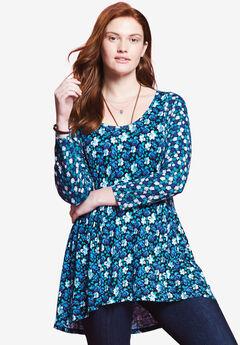 Mixed print babydoll tunic by Chelsea Studio®,
