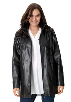 Zip front leather jacket, BLACK, hi-res