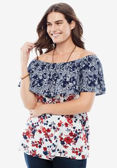 Off-The-Shoulder Ruffled Tee,