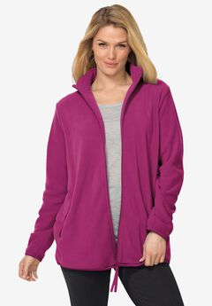 Zip-Front Microfleece Jacket, RASPBERRY