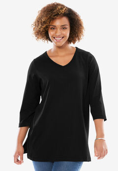 V-Neck Three-Quarter Sleeve Perfect Tunic, BLACK