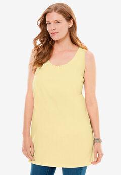 Perfect Sleeveless Shirred U-Neck Tunic, BANANA