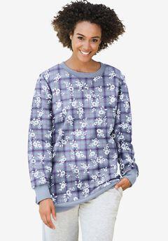 Fleece Sweatshirt, HEATHER GREY FLORAL PLAID