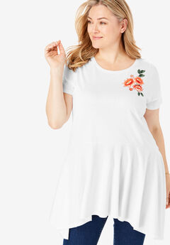 Sharkbite Hem Embroidered Tunic,