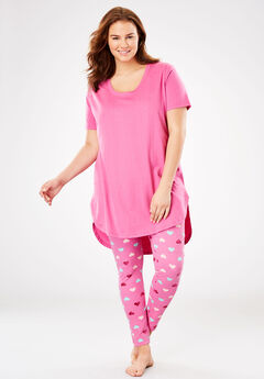 Graphic Tunic PJ Set by Dreams & Co.®, PINK HEART, hi-res