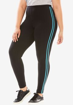 Stretch Cotton Side Stripe Legging, BLACK VIBRANT TURQ, hi-res