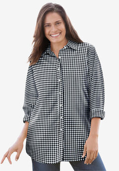 Perfect Long-Sleeve Button Down Shirt, BLACK GINGHAM