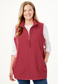 Vest in soft, cozy anti-pilling fleece, STRAWBERRY RED