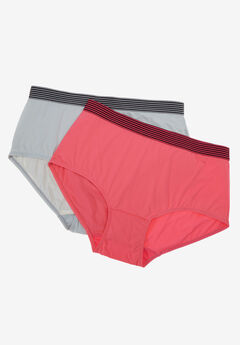 2-Pack Sport Waistband Full-Cut Brief by Comfort Choice®, CORAL ROSE PEARL GREY PACK, hi-res