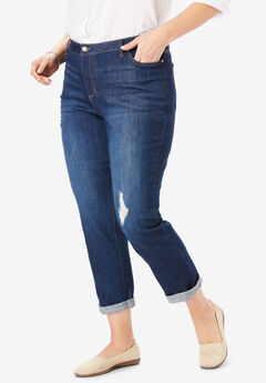 Girlfriend Stretch Jean, DARK DISTRESSED