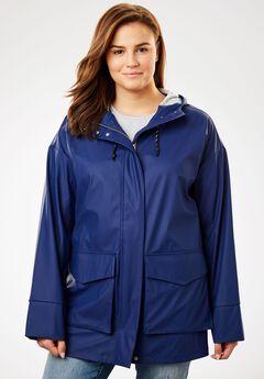 High-Low Slicker Raincoat, EVENING BLUE, hi-res