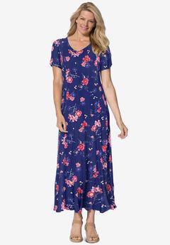Crinkle Dress, EVENING BLUE WILD FLORAL