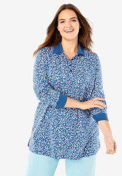 Long-Sleeve Tunic Polo Shirt, DEEP COBALT BERRY FLORAL