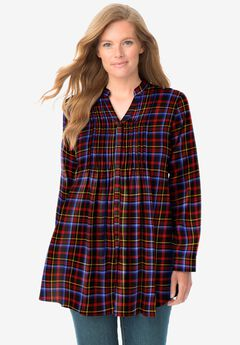 Pintucked Flannel Shirt,