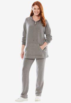 Lace-up Fleece Set, MEDIUM HEATHER GREY, hi-res