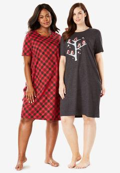 2-Pack Sleepshirt by Dreams & Co.®, PLAID OWL
