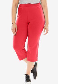 Stretch Cotton Yoga Capri, CORAL RED, hi-res