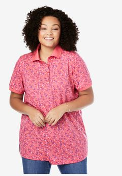 Perfect Printed Short-Sleeve Polo Shirt, ROSE PINK FLORAL